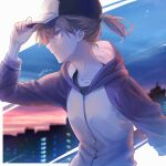 az_(zero_glvimayhop) baseball_cap blurry blurry_background brown_eyes brown_hair city_lights cityscape from_side hand_on_headwear hat hood hood_down hoodie misaka_mikoto night night_sky outside_border ponytail profile signature sky toaru_majutsu_no_index