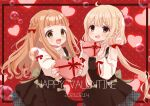 2girls :d ahoge bangs bare_shoulders black_dress blonde_hair bow box braid brown_eyes brown_hair clothing_cutout commentary_request dated dress eyebrows_visible_through_hair futaba_anzu gift gift_box hair_bow happy_valentine heart-shaped_box highres holding holding_gift ichihara_nina idolmaster idolmaster_cinderella_girls idolmaster_cinderella_girls_starlight_stage long_hair low_twintails multiple_girls open_mouth polka_dot polka_dot_background red_background red_bow rino_cnc shoulder_cutout sleeveless sleeveless_dress sleeves_past_wrists smile sweater turtleneck turtleneck_sweater twintails v-shaped_eyebrows valentine very_long_hair white_sweater