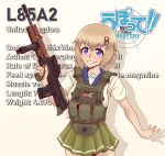 1girl absurdres assault_rifle blonde_hair blue_eyes blush bullpup character_name chest_rig copyright_name cowboy_shot german_flag gun hair_between_eyes highres l85 l85a1_(upotte!!) medium_hair rifle school_uniform serafuku smile solo union_jack upotte!! weapon willy_pete