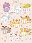 :q alcremie alcremie_(strawberry_sweet) alolan_form alolan_vulpix blush closed_eyes closed_mouth commentary_request cup cupcake eevee food fork galarian_form galarian_meowth gen_1_pokemon gen_4_pokemon gen_7_pokemon gen_8_pokemon gengar grin heart highres mythical_pokemon no_humans open_mouth pikachu poke_ball_symbol pokemon pokemon_(creature) shaymin shaymin_(land) smile snom spoon star_(symbol) teacup teeth temariame14 tongue tongue_out yamper