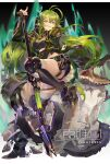 1girl absurdres alligator antenna_hair arknights black_footwear black_shorts boots character_name copyright_name crocodilian crocodilian_tail fingerless_gloves gavial_(arknights) gavial_(combat_medic)_(arknights) gloves green_hair green_jacket hair_between_eyes highres holding holding_weapon jacket knee_pads long_hair mace official_alternate_costume open_clothes open_jacket pointy_ears samo_(shichun_samo) sharp_teeth short_shorts shorts skindentation spurs tail teeth thigh-highs thighs weapon yellow_eyes