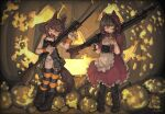 2girls alternate_costume animal_ears animal_hood bangs black_legwear blush boots brown_hair candy capelet dress eyebrows_visible_through_hair food frilled_dress frills gun hair_between_eyes hair_ornament hairclip halloween highres holding holding_gun holding_weapon hood hood_up hooded_capelet ikazuchi_(kancolle) inazuma_(kancolle) jack-o'-lantern kantai_collection knee_boots kuro4221 lollipop mouth_hold multiple_girls panties scrunchie short_hair sidelocks signature standing striped striped_legwear tail thigh-highs underwear weapon weapon_request white_panties wrist_scrunchie yellow_eyes