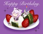 1girl :3 ahoge animal_ear_fluff animal_ears bangs black_shirt blush candle cat cat_ears cat_girl cat_tail chaki_(teasets) chibi closed_eyes closed_mouth commentary_request crop_top dish eyebrows_visible_through_hair food food_on_face fruit hair_between_eyes hairband happy_birthday highres hololive in_food minigirl nekomata_okayu nori_(seaweed) onigiri oversized_object purple_background purple_hair rice rice_on_face shirt silver_hair smile sparkle strawberry tail upside-down virtual_youtuber