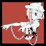 1girl black_border black_eyes border breasts chain cropped_torso cuffs foothold_trap hat hat_ornament highres jiangshi ma_sakasama medium_breasts miyako_yoshika monochrome outstretched_arms red_background shackles shirt short_hair short_sleeves solo star_(symbol) star_hat_ornament talisman touhou upper_body white_legwear zombie_pose