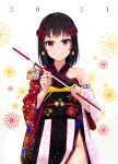 1girl 2021 absurdres arrow_(projectile) bangs bell bell_earrings black_hair blush breasts closed_mouth criss-cross_halter earrings eyebrows_visible_through_hair floral_print flower_(symbol) groin hair_ornament halterneck hamaya highres holding holding_arrow japanese_clothes jewelry jingle_bell kimono long_sleeves looking_at_viewer multicolored multicolored_clothes multicolored_kimono na_kyo obi off-shoulder_kimono original red_eyes sash short_hair small_breasts smile solo striped wide_sleeves