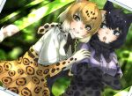 2girls :o animal_ear_fluff animal_ears arms_under_breasts bangs black_bow black_hair black_jaguar_(kemono_friends) black_neckwear blonde_hair blue_eyes blurry blurry_background bow bowtie center_frills commentary crossed_arms dutch_angle elbow_gloves eyebrows_visible_through_hair fangs frills fur_collar gloves gradient_hair grey_shirt grin high-waist_skirt highres jaguar_(kemono_friends) jaguar_ears jaguar_print jaguar_tail kemono_friends looking_at_another looking_at_viewer multicolored_hair multiple_girls photo_(medium) pleated_skirt print_gloves print_skirt shirt short_hair short_sleeves skirt smile tail teeth thin_(suzuneya) white_hair white_shirt yellow_eyes