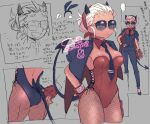 1girl ass aviator_sunglasses breasts casual_suit demon_horns demon_tail detached_collar fingerless_gloves fishnets gloves grey_background hand_on_hip helltaker horns jacket jacket_on_shoulders justice_(helltaker) leotard medium_breasts multiple_views playboy_bunny red_gloves red_ribbon ribbon short_hair sketch smile solo somojiro sunglasses tail tan white_hair wrist_cuffs