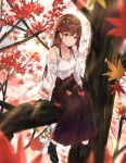 1girl absurdres autumn autumn_leaves black_footwear blurry blurry_background blurry_foreground blush boots breasts brown_eyes brown_hair collarbone day depth_of_field detached_sleeves eyebrows_visible_through_hair falling_leaves hair_ornament hairclip highres leaf leaf_hair_ornament long_hair long_skirt long_sleeves looking_at_viewer maple_leaf medium_breasts na_kyo o original outdoors pleated_skirt skirt smile solo standing tree very_long_hair