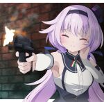 .live 1girl blush breasts carro_pino closed_eyes commentary_request detached_sleeves drias firing_at_viewer gun handgun headband long_hair pistol purple_hair sleeveless small_breasts smile solo virtual_youtuber wall weapon
