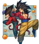 2boys abs biceps black_footwear black_hair brown_hair denim dragon_ball dragon_ball_gt gloves green_eyes highres jeans kamonegi_(meisou1998) monkey_boy monkey_tail multiple_boys muscular muscular_male no_nipples pants pectorals red_fur son_goku spiky_hair super_saiyan super_saiyan_4 tail vegeta yellow_eyes yellow_pants