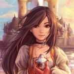 1girl black_hair brown_eyes castle choker final_fantasy final_fantasy_ix holding jewelry long_hair looking_at_viewer necklace signature sky smile