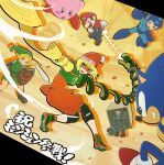 1girl arms_(game) bandana bangs beam beard blonde_hair blue_eyes box breasts cardboard_box dragon facial_hair food full_body gloves green_eyes highres kirby kirby_(series) link long_hair looking_at_viewer mask metal_gear_(series) metal_gear_solid metal_gear_solid_2 pointy_ears rockman rockman_(character) rockman_(classic) shield short_hair simple_background sjw_kazuya smile sneaking_suit solid_snake sonic sonic_the_hedgehog super_smash_bros. sword the_legend_of_zelda the_legend_of_zelda:_majora's_mask the_legend_of_zelda:_ocarina_of_time weapon young_link younger