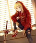 1girl bandaid bandaid_on_face blinds blonde_hair chaldea_logo clarent_(fate) closed_mouth contemporary fang fate/apocrypha fate_(series) green_eyes grin highres hood hood_up hoodie jacket knee_up long_hair long_sleeves mordred_(fate)_(all) pants shoes smile sneakers soda_smoothies solo sword torn_clothes torn_pants weapon window