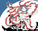 1girl blue_background blue_eyes blue_hair breasts bright_pupils electricity frilled_ribbon frilled_shirt frills hat hat_ribbon highres holding limited_palette ma_sakasama medium_breasts nagae_iku pun red_ribbon ribbon shirt short_hair solo squid touhou white_background white_pupils