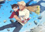 2boys :d amuro_tooru arm_around_shoulder bangs belt black-framed_eyewear black_belt black_jacket black_pants black_shirt blonde_hair blue_background blue_eyes blurry bouquet brown_hair cardigan casual child closed_mouth commentary_request confetti debris depth_of_field edogawa_conan eye_contact flower glasses grey_pants hair_between_eyes height_difference holding holding_bouquet holding_clothes holding_jacket hug jacket jacket_removed k_(gear_labo) looking_at_another male_focus meitantei_conan midriff_peek multiple_boys open_clothes open_jacket open_mouth pants red_jacket shirt shoes short_hair smile sneakers socks v-shaped_eyebrows white_cardigan white_legwear wind
