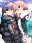 2girls black_coat blue_coat blue_eyes coat dark_blue_hair down_jacket duffel_coat hair_between_eyes hands_in_pockets highres kagamihara_nadeshiko long_hair looking_at_viewer mad_(hazukiken) multiple_girls pink_hair scarf shima_rin v violet_eyes yellow_scarf yurucamp