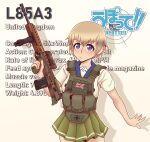 1girl absurdres assault_rifle blonde_hair blue_eyes blush bullpup character_name chest_rig copyright_name cowboy_shot gun hair_between_eyes highres l85 l85a1_(upotte!!) rifle school_uniform serafuku short_hair solo upotte!! weapon willy_pete