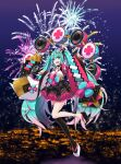 1girl :d absurdres aerial_fireworks aqua_eyes aqua_hair eyebrows_visible_through_hair fan fireworks folding_fan gradient_hair hair_ornament hairclip hatsune_miku highres holding holding_fan huge_filesize long_hair long_sleeves macha_3939 magical_mirai_(vocaloid) mismatched_footwear multicolored_hair night night_sky open_mouth outdoors pink_hair platform_footwear pleated_skirt single_thighhigh skirt sky sleeves_past_wrists smile solo thigh-highs twintails very_long_hair vocaloid white_footwear wide_sleeves x_hair_ornament