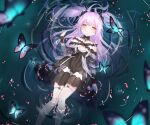 1girl absurdres bangs bare_shoulders black_bow black_dress blue_hair blurry blurry_foreground blush bow bug butterfly collarbone detached_collar dress eyebrows_visible_through_hair frills from_above garter_straps hair_bow hand_up highres hololive insect long_hair looking_at_viewer lying messy_hair multicolored multicolored_eyes off-shoulder_dress off_shoulder on_back parted_lips partially_submerged short_sleeves sidelocks solo thigh-highs thighs two_side_up uruha_rushia virtual_youtuber water white_legwear wrist_cuffs yakurope-moko
