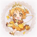 1girl :d aizen_(syoshiyuki) alternate_costume arm_warmers bloomers bow brown_background brown_bow brown_eyes brown_footwear brown_hair chibi hair_bow hairband happinesscharge_precure! holding honey_dipper honeypot lace_background looking_at_viewer oomori_yuuko open_mouth orange_bloomers orange_bow precure shoes short_hair single_bare_leg single_thighhigh smile solo striped striped_bow striped_legwear thigh-highs underwear