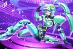 1girl aqua_eyes blue_hair breasts cosplay crossover fei-yen fei-yen_(cosplay) hand_on_ground hatsune_miku heart highres looking_at_viewer moriya_t_kyouju musical_note power_armor small_breasts smile solo twintails virtual_on visor vocaloid