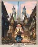 1other black_mage blue_coat castle clock coat cobblestone entrance facing_away fence final_fantasy final_fantasy_ix flag flower hat looking_afar sasumata_jirou signpost sky town vivi_ornitier wizard_hat