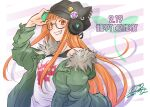 1girl animal_hat cat_hat coat dated fur_collar glasses grin happy_birthday hat headphones highres long_hair orange_eyes orange_hair persona persona_5 qoo1234 sakura_futaba smile solo upper_body