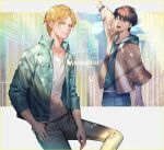 2boys :d ^_^ arm_at_side ash_lynx banana_fish bangs black_hair blonde_hair blue_hoodie blue_pants brown_jacket building buttons closed_eyes closed_mouth clouds collarbone commentary copyright_name denim eyebrows_visible_through_hair green_eyes green_jacket grey_pants hair_between_eyes happy highres hood hood_down hoodie invisible_chair jacket jeans looking_to_the_side m/g male_focus multiple_boys okumura_eiji open_clothes open_jacket open_mouth outdoors pants shirt short_hair short_sleeves signature sitting sky smile standing teeth white_shirt
