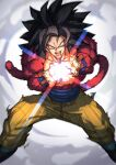 1boy abs absurdres biceps black_footwear black_hair dragon_ball dragon_ball_gt highres incoming_attack kamehameha kamonegi_(meisou1998) monkey_boy monkey_tail muscular muscular_male no_nipples powering_up red_fur son_goku spiky_hair super_saiyan super_saiyan_4 tail yellow_eyes