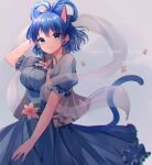 1girl animal_ears blue_dress blue_eyes blue_hair blurry breasts cat_ears cat_tail character_name chromatic_aberration closed_mouth commentary_request cowboy_shot dated depth_of_field dress drill_hair drill_locks eyebrows_visible_through_hair flower frills grey_background grey_vest hagoromo hair_ornament hair_rings hair_stick hand_up highres kaku_seiga kemonomimi_mode looking_at_viewer medium_breasts moshihimechan paw_print pink_flower puffy_short_sleeves puffy_sleeves shawl short_hair short_sleeves simple_background smile solo tail touhou twin_drills vest