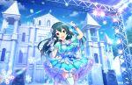 black_hair blush dress idolmaster_cinderella_girls_starlight_stage long_hair ohishi_izumi red_eyes smile winter