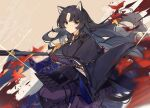 1girl animal_ears arknights autumn_leaves bangs black_gloves black_hair black_kimono brown_background closed_mouth dog_ears dog_girl elbow_gloves eyebrows_visible_through_hair facial_mark feet_out_of_frame fingerless_gloves forehead_mark glint gloves hair_ribbon highres holding holding_weapon japanese_clothes kimono knee_pads leaf long_hair long_sleeves looking_at_viewer maple_leaf mongarit motion_blur pants parted_bangs puffy_pants purple_pants ribbon saga_(arknights) signature smile solo very_long_hair weapon wide_sleeves yellow_ribbon