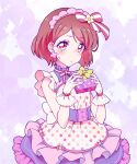 1girl apron bangs bow box brown_hair closed_mouth eyebrows_visible_through_hair frown gift gift_box gloves hair_bow hanadera_nodoka healin'_good_precure highres holding holding_bow kyoutsuugengo layered_skirt looking_at_viewer maid_day miniskirt polka_dot polka_dot_apron precure red_eyes shiny shiny_hair short_hair skirt solo standing striped striped_bow sweatdrop swept_bangs white_apron white_gloves