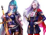 2girls absurdres aqua_hair bangs black_jacket black_shorts blue_eyes breasts brown_legwear byleth_(fire_emblem) byleth_(fire_emblem)_(female) cape commentary_request cowboy_shot edelgard_von_hresvelg fire_emblem fire_emblem:_three_houses forehead garreg_mach_monastery_uniform gloves hair_ribbon hand_up highres holding holding_sword holding_weapon jack_(kairuhaido) jacket long_hair long_sleeves looking_at_viewer medium_breasts multiple_girls navel pantyhose parted_lips partial_commentary purple_ribbon red_cape ribbon short_shorts shorts standing sword sword_of_the_creator weapon white_gloves