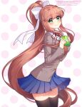 1girl bangs beige_jacket black_legwear blue_skirt box brown_hair commentary_request doki_doki_literature_club eyebrows_visible_through_hair green_eyes hair_ribbon heart-shaped_box highres long_hair long_sleeves monika_(doki_doki_literature_club) nan_(gokurou) parted_lips pleated_skirt polka_dot polka_dot_background ponytail repost_notice ribbon school_uniform sidelocks skirt smile solo thigh-highs valentine very_long_hair watermark white_ribbon