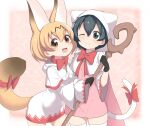 2girls :3 :d ;) animal_ear_fluff animal_ears bangs black_gloves black_hair blonde_hair bow bowtie brown_eyes capelet cat_tail commentary_request cosplay earrings extra_ears eyebrows_visible_through_hair fang final_fantasy gloves hair_between_eyes highres holding holding_staff hood hood_down hood_up hooded_robe jewelry kaban_(kemono_friends) kemono_friends kemonomimi_mode multiple_girls one_eye_closed open_mouth pom_pom_(clothes) ransusan red_bow red_neckwear serval_(kemono_friends) serval_ears serval_tail smile staff tail tail_bow tail_ornament thigh-highs white_gloves white_legwear white_mage white_mage_(cosplay) wide_sleeves zettai_ryouiki