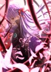 1girl akamin bangs bb_(fate) bb_(fate)_(all) black_coat blue_hair blurry blurry_foreground bow breasts coat eyebrows_visible_through_hair fate/grand_order fate_(series) from_side gloves hair_bow hand_up high_collar highres long_hair long_sleeves looking_at_viewer looking_to_the_side medium_breasts parted_lips petals red_eyes sideways_glance smile solo standing white_gloves wide_sleeves
