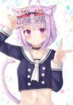 1girl ahoge animal_collar animal_ear_fluff animal_ears arms_up blush candle cat_ears cat_girl cat_tail collar confetti eyewear_on_head happy_birthday head_tilt highres holding holding_eyewear hololive jewelry looking_at_viewer midriff navel neckerchief nekomata_okayu nibosi pendant purple_hair sailor_collar sailor_shirt shirt short_hair smile solo standing tail upper_body v violet_eyes virtual_youtuber white_background white_neckwear white_sailor_collar