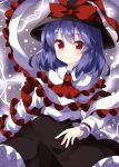 1girl black_headwear black_skirt blue_hair blush capelet electricity frilled_capelet frilled_skirt frills hat hat_ribbon highres long_sleeves looking_at_viewer medium_hair nagae_iku red_eyes red_ribbon ribbon ruu_(tksymkw) shawl shirt skirt smile solo touhou white_shirt