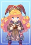 1girl anbe_yoshirou bangs blonde_hair blue_background blue_eyes boots border charlotte_(seiken_densetsu_3) chocolate chocolate_on_face closed_mouth commentary_request cowboy_shot disconnected_mouth food food_on_face gradient gradient_background hat highres holding holding_chocolate holding_food jester_cap light_blush long_hair long_sleeves looking_at_viewer outside_border red_footwear red_headwear seiken_densetsu seiken_densetsu_3 signature solo standing tabard valentine very_long_hair