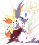 1girl :3 absol absurdres alcohol alternate_eye_color anger_vein animal_ear_fluff animal_ears animal_nose annoyed arm_around_shoulder artist_name bangs black_fur blue_eyes blush body_fur bottle braixen claws commentary confetti dated drink drunk english_commentary english_text eryz fangs fox_ears fox_girl fox_tail full_body gen_3_pokemon gen_6_pokemon hand_up highres holding holding_bottle holding_pipe hug milestone_celebration nose_blush open_mouth pawpads paws pipe pokemon pokemon_(creature) red_eyes short_hair signature sitting sitting_on_lap sitting_on_person smile smoking snout tail tongue white_background white_fur white_hair yellow_fur