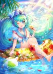 1girl ;d absurdres afloat aqua_hair arm_ribbon ball bangs barefoot beachball bead_bracelet beads bikini bird blue_eyes blue_ribbon blue_sailor_collar blush bracelet breasts choker clouds eyebrows_visible_through_hair food frilled_sailor_collar frills hair_ribbon hat hatsune_miku hayun highres holding holding_food huge_filesize innertube jewelry leg_ribbon long_hair looking_at_viewer ocean one_eye_closed open_mouth popsicle rainbow ribbon ribbon_choker sailor_bikini sailor_collar sailor_hat seagull small_breasts smile solo swimsuit teeth twintails two-tone_ribbon upper_teeth very_long_hair vocaloid white_bikini white_ribbon wristband