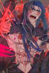 1boy abs angry blood blood_splatter blue_hair bodypaint cape cu_chulainn_(fate)_(all) cu_chulainn_alter_(fate/grand_order) dark_blue_hair dark_persona detached_hood earrings elbow_gloves facepaint fate/grand_order fate_(series) fur-trimmed_cape fur_trim gae_bolg_(fate) gloves highres holding holding_polearm holding_weapon hood hood_up incoming_attack jewelry long_hair male_focus muscular muscular_male navel norinobu open_mouth polearm red_eyes sharp_teeth shirtless solo spikes spiky_hair teeth tongue twitter_username weapon