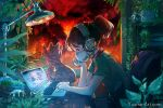 1girl animal artist_name california cat chair chilledcow_stream_girl commentary computer english_text fire forest from_side green_shirt headphones highres lamp laptop lofi_hip_hop_radio_-_beats_to_relax/study_to looking_down mask mouth_mask nature plant ponytail shirt short_ponytail short_sleeves sitting sketch tree watermark web_address wenqing_yan wildfire