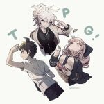 1girl 2boys ahoge alternate_hairstyle arm_up artist_name backpack bag black_shirt blush collared_shirt cropped_legs cropped_torso danganronpa_(series) danganronpa_10th_anniversary_costume danganronpa_2:_goodbye_despair dress_shirt eyebrows_visible_through_hair flipped_hair green_eyes grey_hair grey_jacket hair_ornament hairclip hand_up highres hinata_hajime holding holding_leaf hood hood_down hoodie jacket komaeda_nagito leaf looking_at_viewer multiple_boys nanami_chiaki neck_ribbon official_alternate_costume pants pink_ribbon pleated_skirt ribbon shirt shirt_tucked_in short_hair skirt smile takagiri two-tone_shirt vest white_shirt