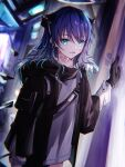 1girl arknights arm_support bangs black_gloves black_jacket blurry blurry_background collarbone demon_girl demon_horns eyebrows_visible_through_hair floating floating_object fur_trim gloves grey_eyes haku_wi halo hand_up highres horns jacket long_hair long_sleeves looking_at_viewer mostima_(arknights) open_mouth purple_hair shirt sidelocks smile solo standing upper_body white_shirt wide_sleeves
