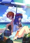 1boy 1girl ane-suisei back-to-back beach bikini bikini_skirt blue_eyes blue_hair blue_sky blurry blurry_foreground closed_mouth clouds couple day fire_emblem fire_emblem:_the_binding_blade fish flower food fruit hair_flower hair_ornament hair_over_one_eye hair_tubes head_wreath hetero hibiscus highres hood hood_down hooded_jacket jacket lens_flare lilina_(fire_emblem) long_hair male_swimwear ocean open_clothes open_jacket orange_bikini orange_hair orange_skirt outdoors parasol red_flower roy_(fire_emblem) short_hair skirt sky swim_trunks swimsuit swimwear umbrella watermelon white_jacket
