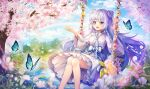 1girl :d absurdres bangs blue_butterfly blush braid bug butterfly cherry_blossoms commission double_bun eyebrows_visible_through_hair floral_print flower hayun highres insect japanese_clothes kimono lake light_purple_hair long_hair long_sleeves obi open_hand open_mouth original print_kimono sash sidelocks sitting skirt skirt_under_kimono smile solo swing twin_braids very_long_hair violet_eyes white_skirt wide_sleeves