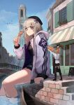 2girls aa-12_(girls_frontline) absurdres ahoge baggy_clothes bags_under_eyes bangs black_headwear black_legwear black_skirt blue_sky boat boots bridge brown_footwear canal chocolate_chip_cookie cookie eating eyewear_on_head food giant giantess girls_frontline gondola hair_ornament hanabusaraleigh hat heart highres holding holding_food hood hooded_jacket jacket kalina_(girls_frontline) knee_boots long_sleeves medium_hair multiple_girls open_clothes open_jacket orange_hair outdoors pleated_skirt shirt side_ponytail sitting skirt sky sleeves_rolled_up star_(symbol) star_hair_ornament sunglasses thigh-highs town water watercraft white_jacket white_shirt