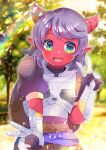 1girl :d armor backpack bag bangs belt blurry blurry_background breastplate brown_belt colored_skin commentary_request curled_horns day depth_of_field double_v dungeons_and_dragons eyebrows_visible_through_hair fangs gauntlets green_eyes hand_up horns kouu_hiyoyo looking_at_viewer open_mouth original outdoors pointy_ears puffy_short_sleeves puffy_sleeves purple_hair red_skin short_sleeves smile solo v